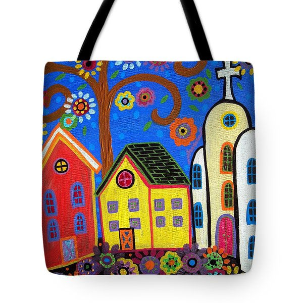 Mexican Church Town Tote Bag