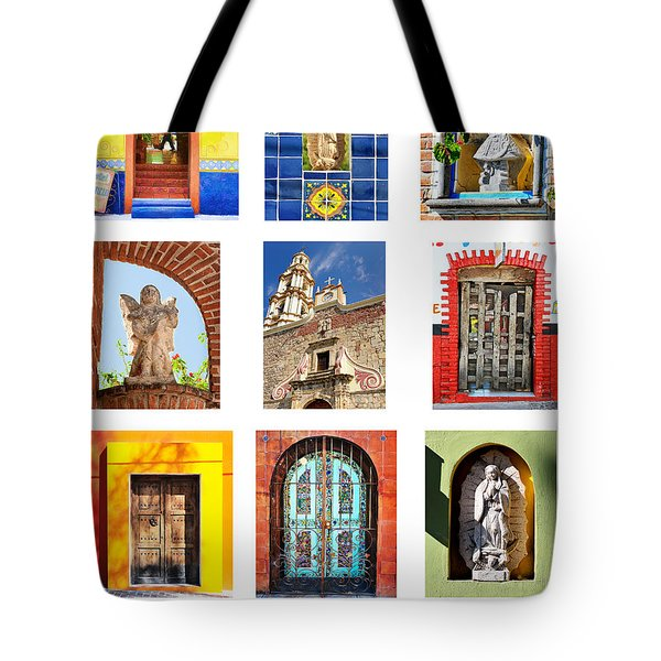 Tote Bag featuring the photograph Colorful Mexican Doors, Ajijic Mexico - Travel Photography By David Perry Lawrence by David Perry Lawrence