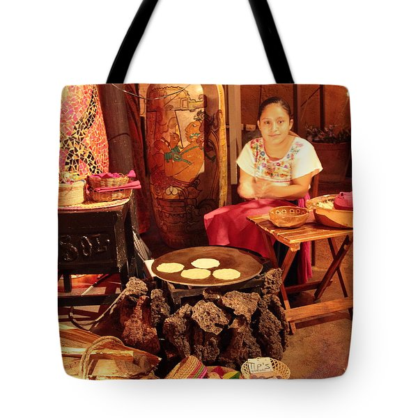 Mexican Girl Making Tortillas Tote Bag by Roupen  Baker