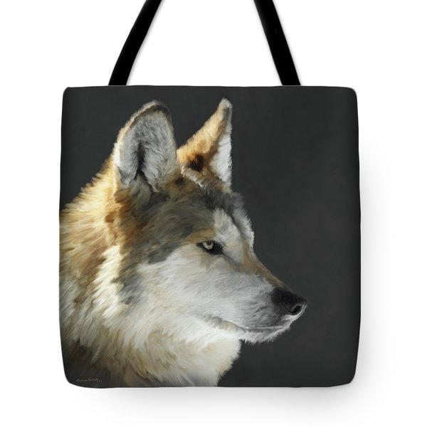 Mexican Grey Wolf Portrait Freehand Tote Bag by Ernie Echols