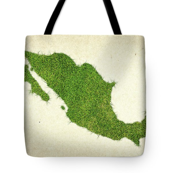 Mexico Grass Map Tote Bag by Aged Pixel