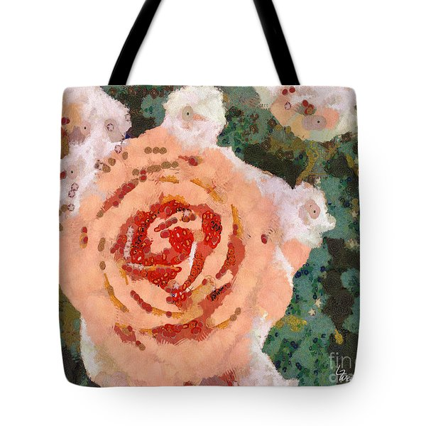 Tote Bag featuring the painting Alameda Meyers House Garden Klimt Rose by Linda Weinstock