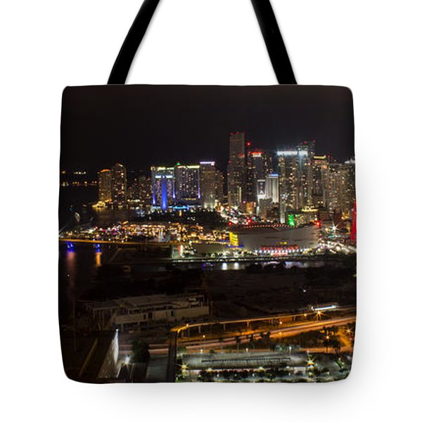 Miami After Dark II Skyline  Tote Bag
