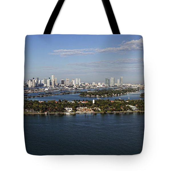 Miami And Star Island Skyline Tote Bag
