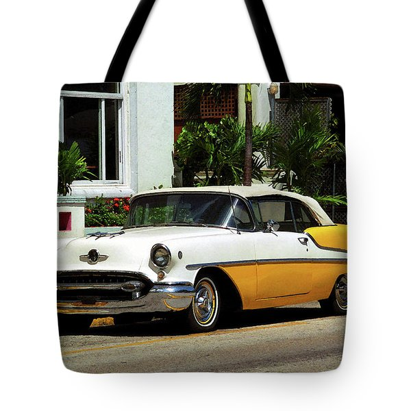Miami Beach Classic Car With Watercolor Effect Tote Bag by Frank Romeo