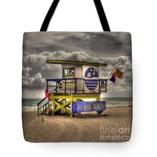 Miami Beach Lifeguard Stand Tote Bag by Timothy Lowry