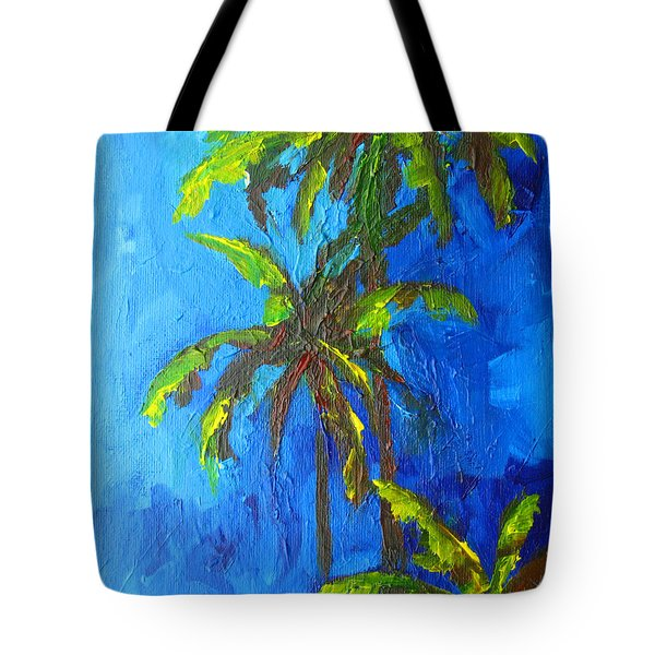 Miami Beach Palm Trees In A Blue Sky Tote Bag