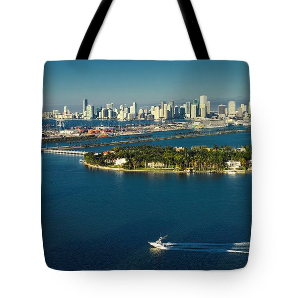 Miami City Biscayne Bay Skyline Tote Bag