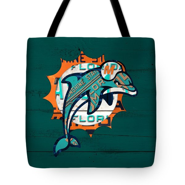 Miami Dolphins Football Team Retro Logo Florida License Plate Art Tote Bag