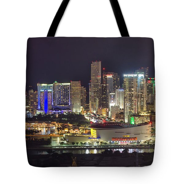 Miami Downtown Skyline American Airlines Arena Tote Bag