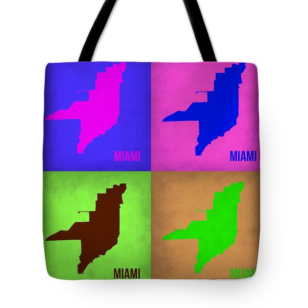 Miami Pop Art Map 1 Tote Bag by Naxart Studio