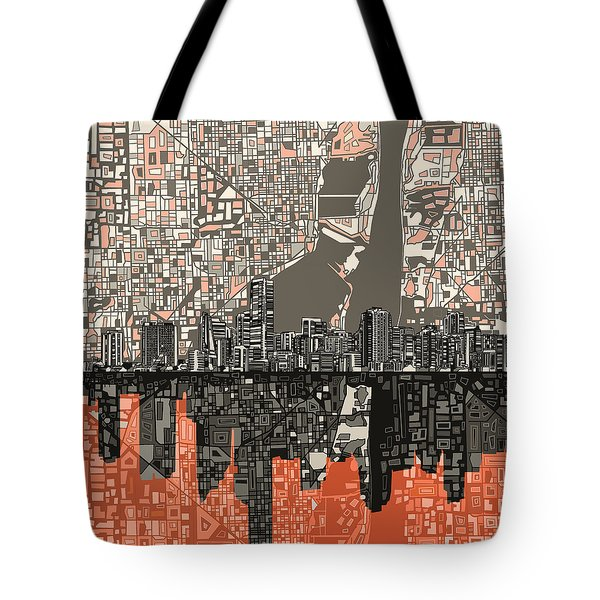 Miami Skyline Abstract 2 Tote Bag