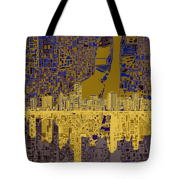 Miami Skyline Abstract 3 Tote Bag
