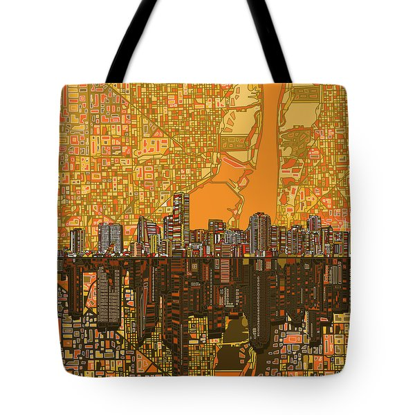 Miami Skyline Abstract 5 Tote Bag