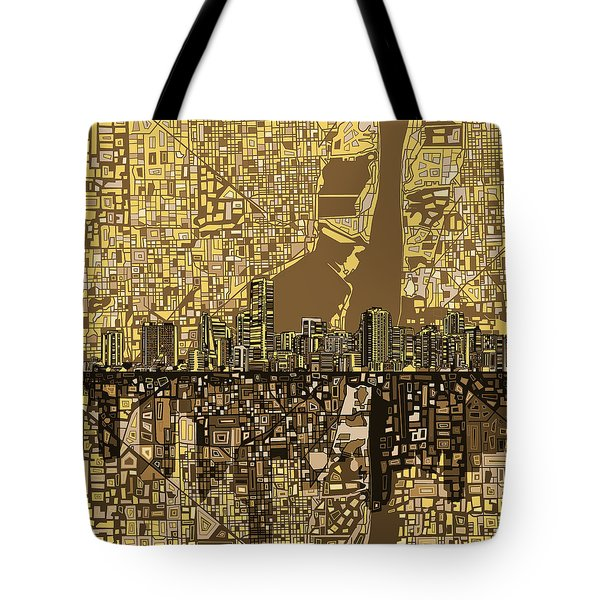 Miami Skyline Abstract 6 Tote Bag