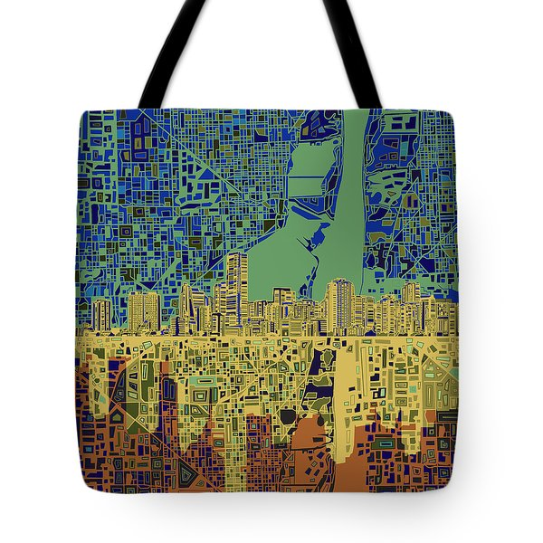 Miami Skyline Abstract 7 Tote Bag