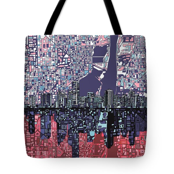 Miami Skyline Abstract Tote Bag