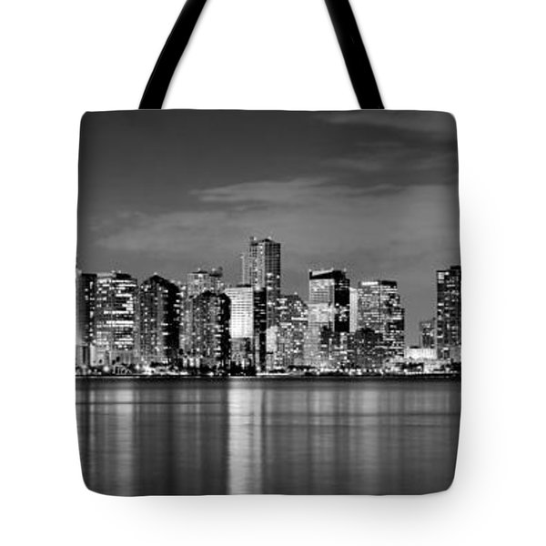 Miami Skyline At Dusk Black And White Bw Panorama Tote Bag by Jon Holiday