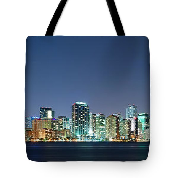 Tote Bag featuring the photograph Miami Skyline At Night by Carsten Reisinger