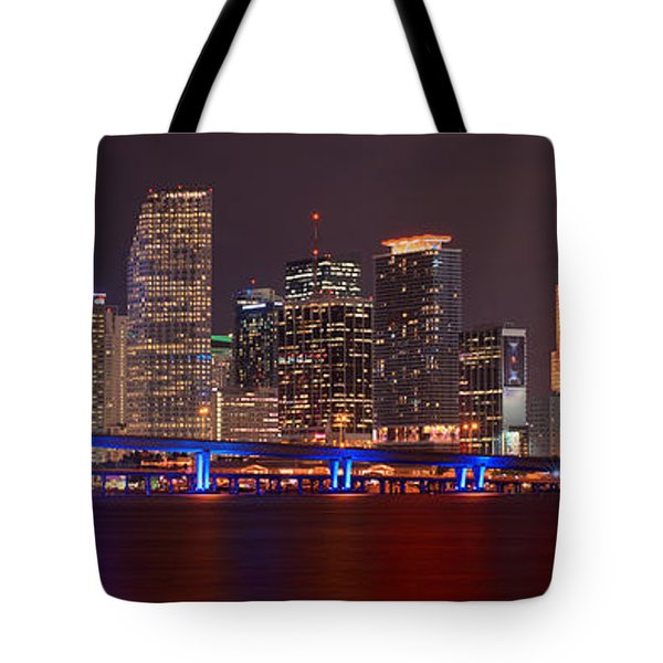 Miami Skyline At Night Panorama Color Tote Bag