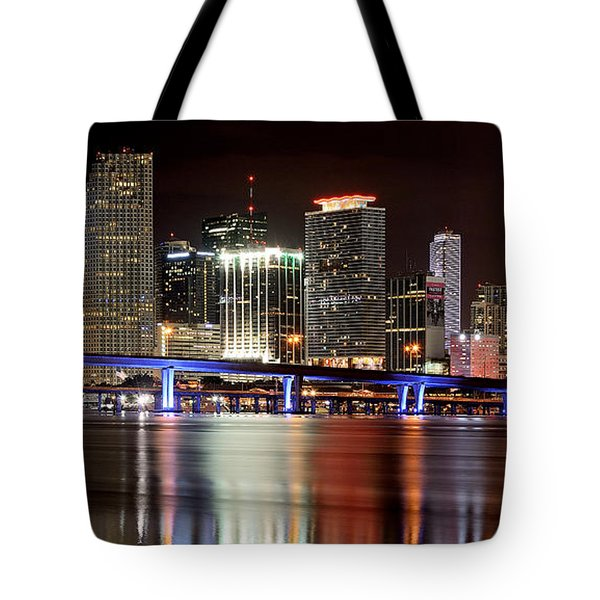 Miami Skyline Tote Bag by Brendan Reals