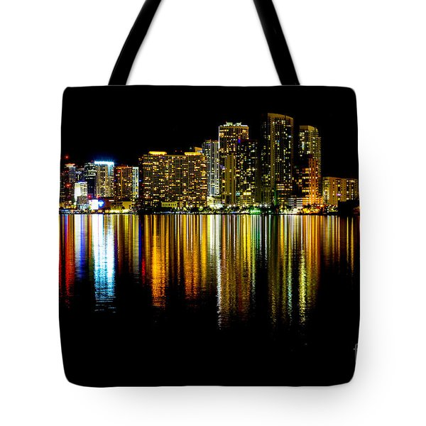 Miami Skyline II High Res Tote Bag by Rene Triay Photography