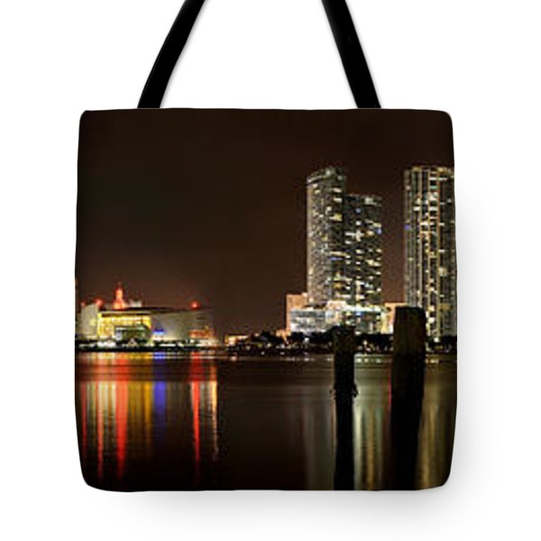 Miami - Skyline Panorama Tote Bag by Brendan Reals