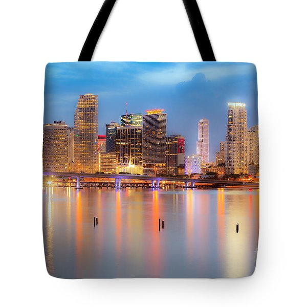 Miami Skyline On A Still Night- Soft Focus  Tote Bag