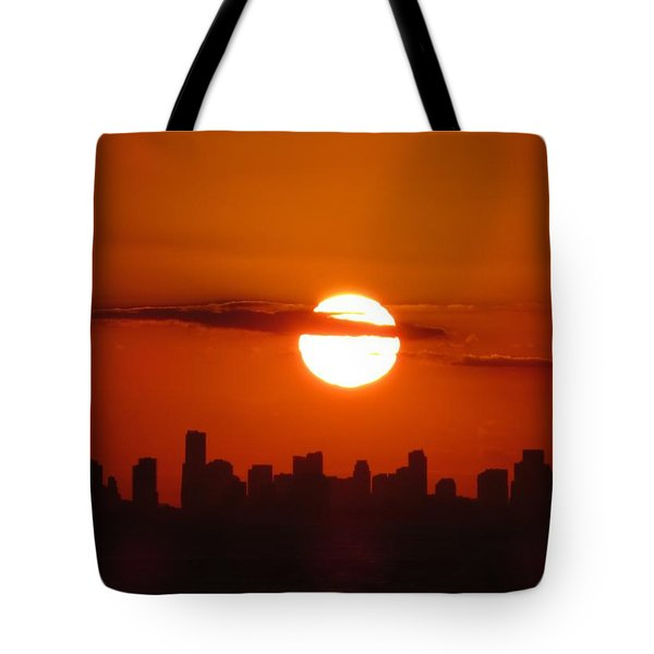 Tote Bag featuring the photograph Miami Sunset by Jennifer Wheatley Wolf