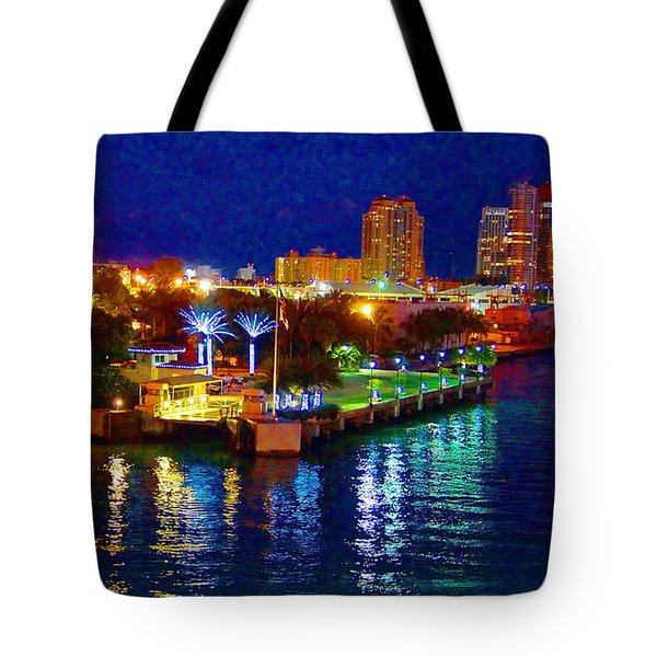 Miami Waterfront At Night - 5 Tote Bag