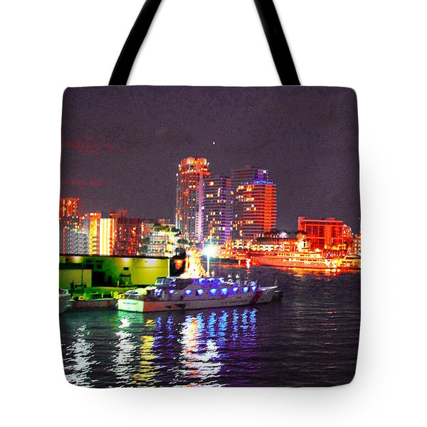 Miami Waterfront At Night - 6 Tote Bag