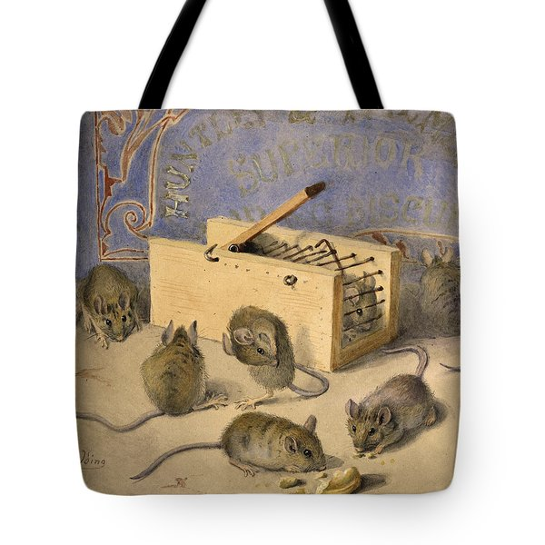 Mice And Huntley Palmers Superior Biscuits Tote Bag by Agnes Louise Holding