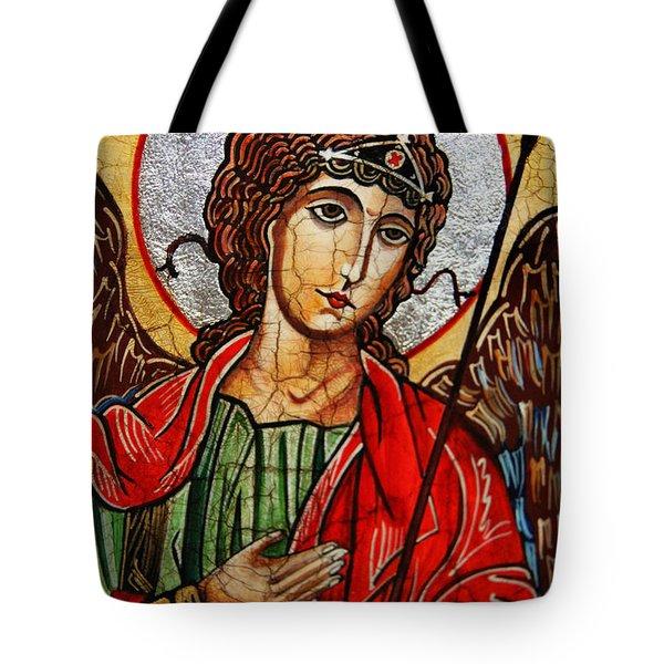 Michael Archangel Tote Bag by Ryszard Sleczka