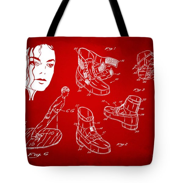 Michael Jackson Anti-gravity Shoe Patent Artwork Red Tote Bag by Nikki Marie Smith
