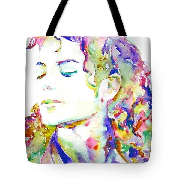 Michael Jackson - Watercolor Portrait.6 Tote Bag by Fabrizio Cassetta