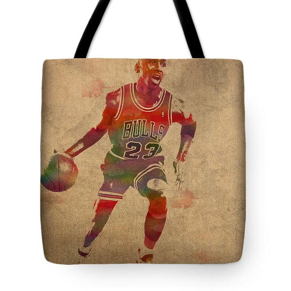Michael Jordan Chicago Bulls Vintage Basketball Player Watercolor Portrait On Worn Distressed Canvas Tote Bag by Design Turnpike