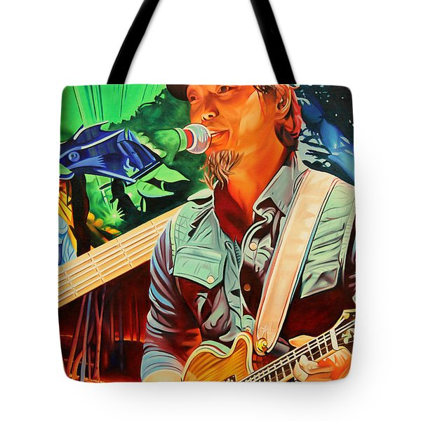 Tote Bag featuring the painting Michael Kang At Horning's Hideout by Joshua Morton
