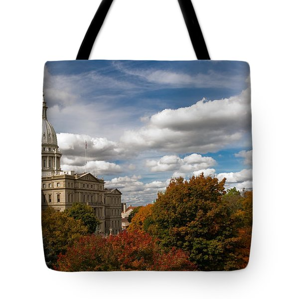 Tote Bag featuring the photograph Michgan Capitol - Autumn by Larry Carr