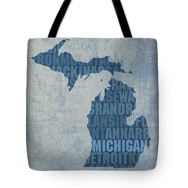 Michigan Great Lake State Word Art On Canvas Tote Bag
