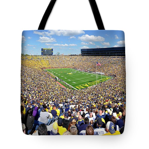 Michigan Stadium - Wolverines Tote Bag by Georgia Fowler