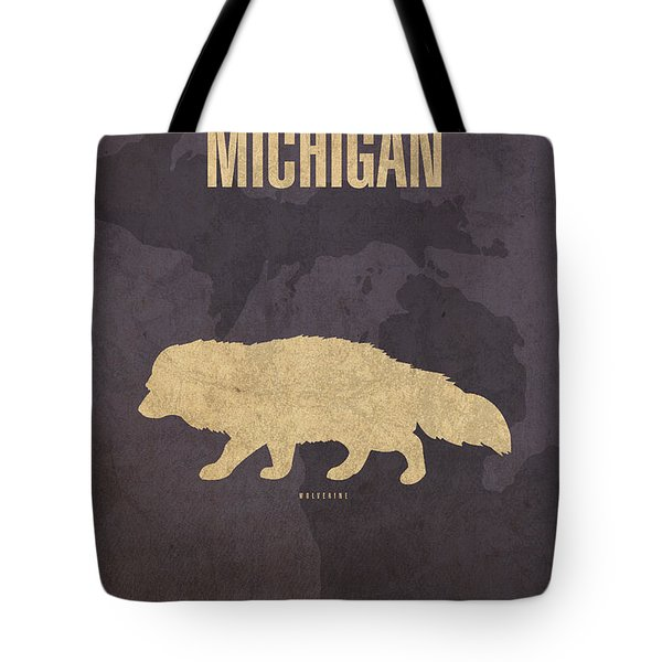 Michigan State Facts Minimalist Movie Poster Art  Tote Bag by Design Turnpike