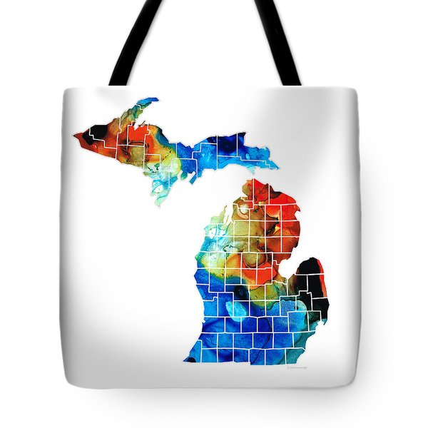 Michigan State Map - Counties By Sharon Cummings Tote Bag by Sharon Cummings