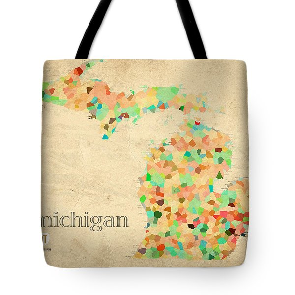 Michigan State Map Crystalized Counties On Worn Canvas By Design Turnpike Tote Bag by Design Turnpike