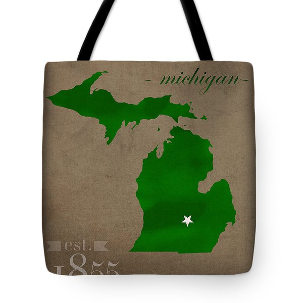 Michigan State University Spartans East Lansing College Town State Map Poster Series No 004 Tote Bag by Design Turnpike