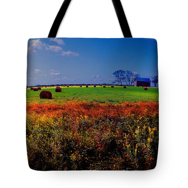 Michigan Uper  Farm Barn And Rolls Of Hay Brimly Michigan Tote Bag