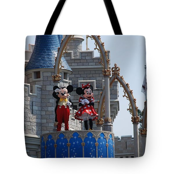 Mickey And Minnie In Living Color Tote Bag by Rob Hans