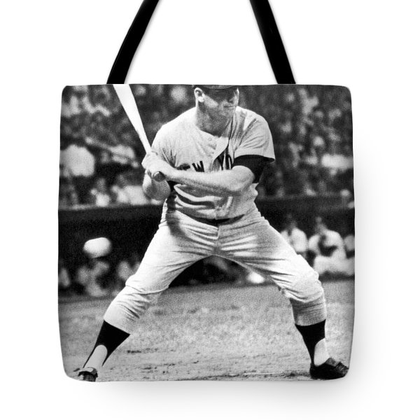 Mickey Mantle At Bat Tote Bag by Underwood Archives