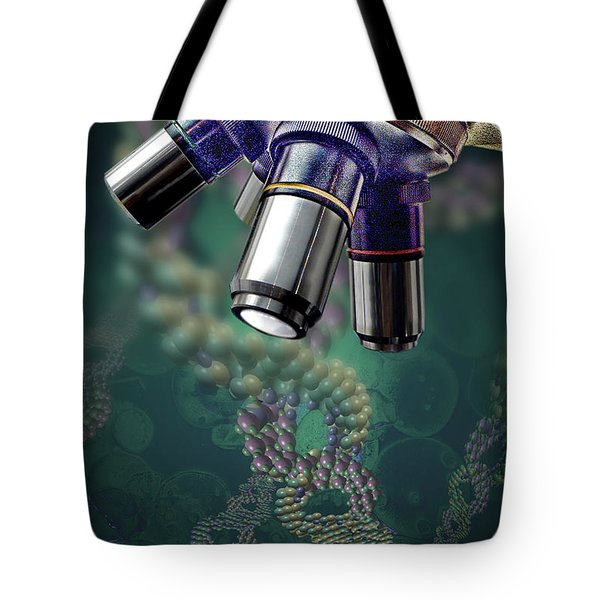 Microscope Dna Strands Tote Bag