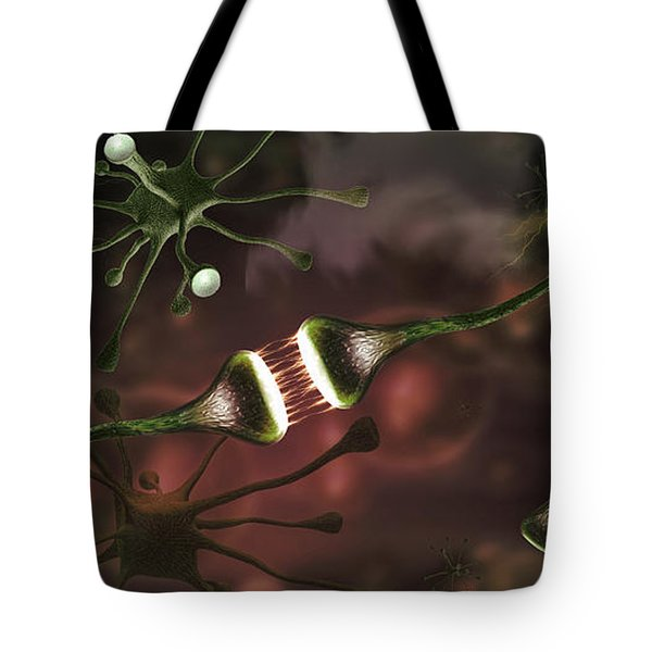 Microscopic Image Of Brain Neurons Tote Bag
