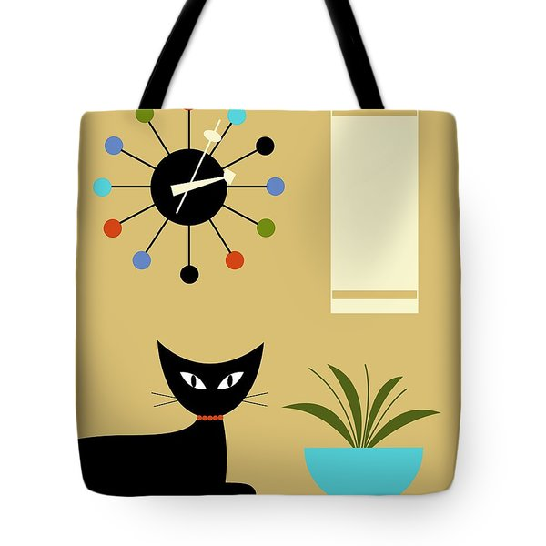 Tote Bag featuring the digital art Mid Century Ball Clock 2 by Donna Mibus